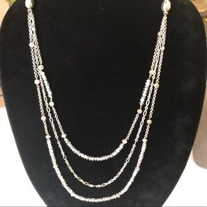 Brighton 3 strand long necklace. Silver coated